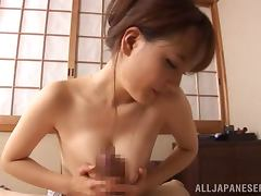 Busty Japanese wife gets her pussy licked and drilled hard