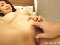 Smoking hot Japanese babe gets her nipples hard when she rides it