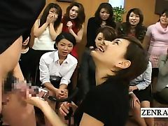 Subtitled CFNM Japan Milf TV penis pump demonstration