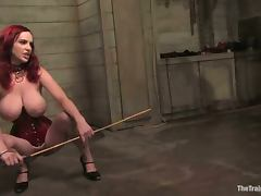 Chubby Charlotte Vale gets her vag fingered in a hot BDSM vid