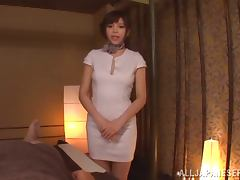 Japanese sweetie Rina Itou gives a handjob to some nerd