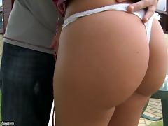 Colette the horny blonde gets fucked in the backyard