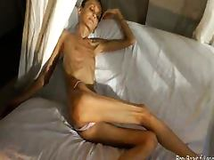 Extreme bony skinny babe shows off her tiny anorexic body porn video