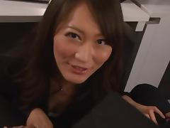Japanese office lady gives a blowjob in POV video