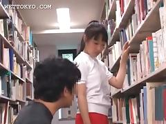 Cute asian teen girl teased in the library