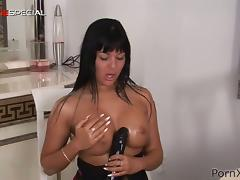 Mega Boobs And Super Huge Dildo for a Horny Busty Brunette