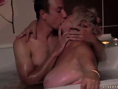 Fat blonde mom gets fucked by a horny stud indoors