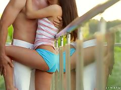 Kinky teen gets some erotic sex on the terrace
