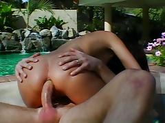 Fine chick fucked near the pool