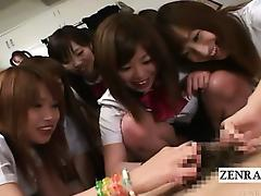 Subtitled CFNM Japanese schoolgirls group handjob party