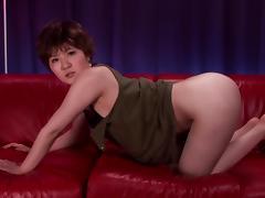 Momoka Nishina sucks a cock and rubs it against her big boobs