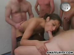 Amateur homemade gangbang with cumshots
