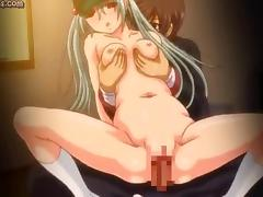 Sweet anime gets small boobs rubbed