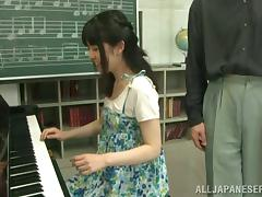 Asian girl gets fucked by her piano teacher after a class