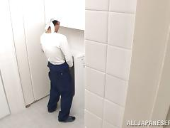 Lovely Claire Hasumi gets fucked by a janitor in a restroom