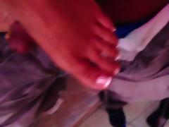 My wifes sexy latina feet rubbing my cock between her soles