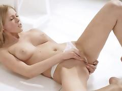Blonde coed in white masturbation