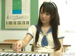 Asian teen in school uniform gets fucked by her piano teacher