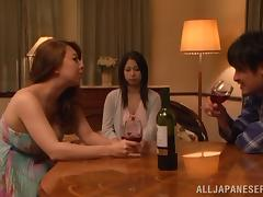Busty brunette babe Minami Ayase is given to him