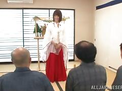 Sexy honey in kimono gets naked and oiled up by three dudes