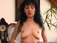 Old woman with saggy pantoons and bushy cunt porn video
