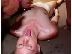Slim Little Petite Titted Kyla Receives Bukkake