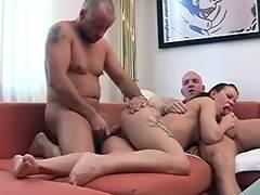 threesome in livingroom