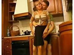 Skinny mature is fucked and played with by a young boy porn video