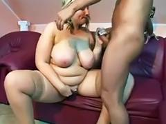 Bald guy giving a BBW MILF a great fucking session