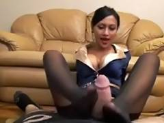 Fascinating Nylon footjob
