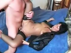MILF babe gets a messy facial after a deep blow job