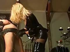 Powerless Villein Receives Tutored by Golden Haired Domina in Latex
