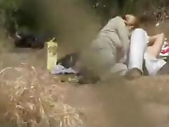 Lovers outdoors having sex