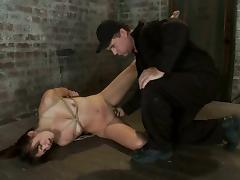 Fisting Brunette Kiki Koi While Tied in Bondage Video