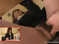 Pretty Japanese girl gets mouth-fucked at a conference