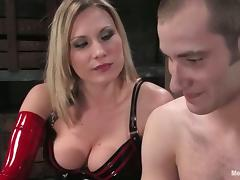 Submissive Guy Getting Cock Tortured in Femdom Bondage Session