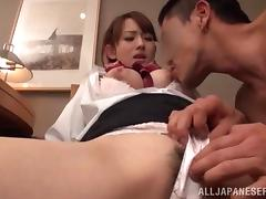 Horny Japanese stewardess gets fucked in hot CFNM vid