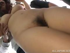 Kinky Japanese girl sucks dicks and gets facialed in a bus
