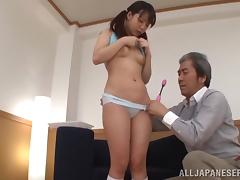 Arisu Hayase gets her tits and pussy rubbed with a toy