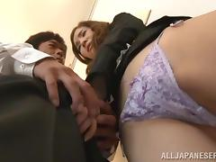 Yuria Ashina gets her tits and Japanese pussy licked in the kitchen