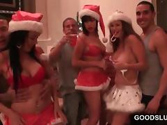 Xmas orgy party with stunning girls anxious to fuck