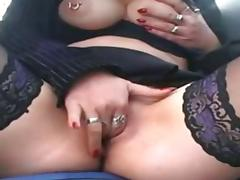 a sexy mature lady masturbating on the highway
