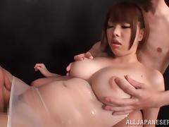 Asian babe with huge tits Meru spreads her legs for a dick