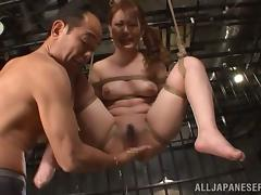 Tied up Sena Kojima gets her pussy and ass toyed