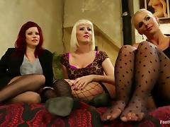 Three lewd lesbians show their foot-fucking skills to each other
