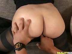 Curvy Latina Cassie takes an ardent ride on a cock after sucking it