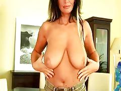 Mature beauty with big tits dildoing