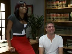 John Jammen gets fucked by sexy tranny Star in an office