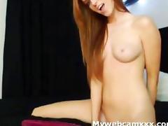 Beautiful slim redhead anal dildo bed cam
