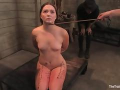 Savannah West gets beaten and fucked in cowgirl position in BDSM vid